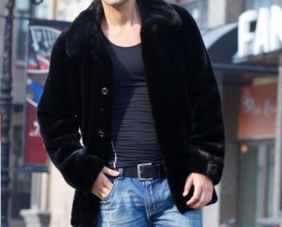 S-6XL حار/الربيع الرجال الموضة الجديدة شخصية تقليد المنك في معطف طويل حجم كبير