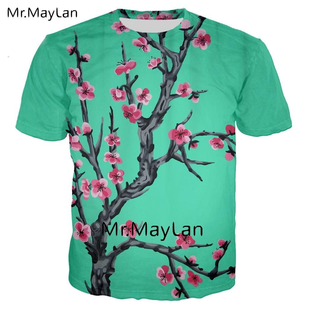Harajuku Arizona Grün Tee 3D Digital Print Floral T-shirt Männer/frauen Gothic Streetwear T Hemd Junge Casual Kleidung T hemd Homme