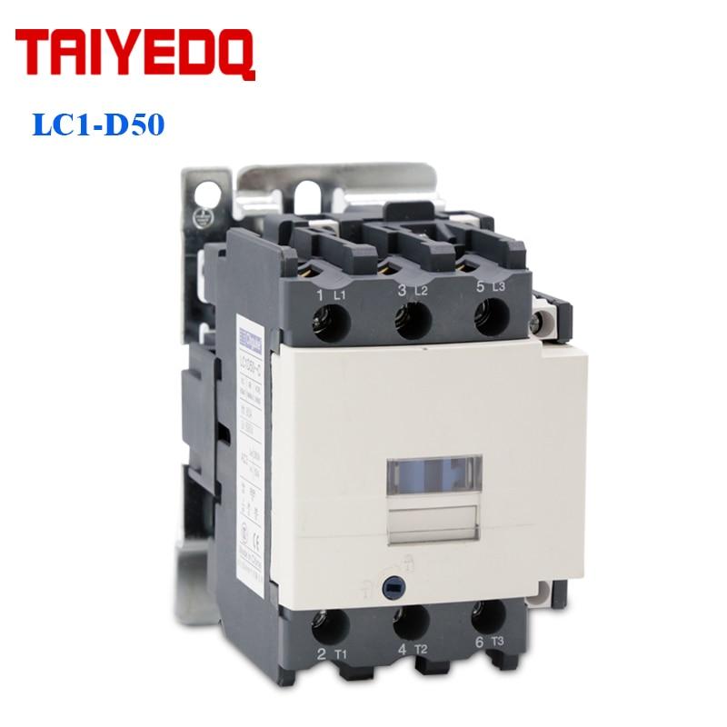 Contactor magnético de CA de LC1-D50, 50A, 1NO, 1NC, Contactor de relé de arranque de 220V/380V, 50/60Hz, 3 contactores eléctricos