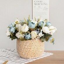 5 tête Bouquet pivoine fleurs artificielles petit blanc soie pivoines fausses fleurs fête de mariage décoration de la maison Rose fleur Rose Art