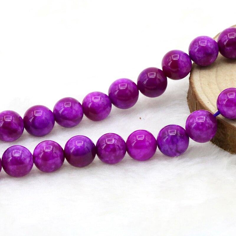 Venta al por mayor de piedra suglite 8mm cuentas redondas sueltas DIY accesorios manuales diseño de regalo hacer pulseras collar mujeres joyería 15
