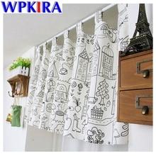 Petits rideaux de porte Semi-ombré   W135 * H35cm à motif de trait de dessin animé, rideaux de porte pour cuisine, rideaux de porte courts, robinet Top AD053
