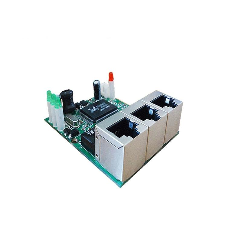 OEM manufacturer company direct sell Realtek chip RTL8306E mini 10/100mbps rj45 lan hub 3 port ethernet switch pcb board enlarge