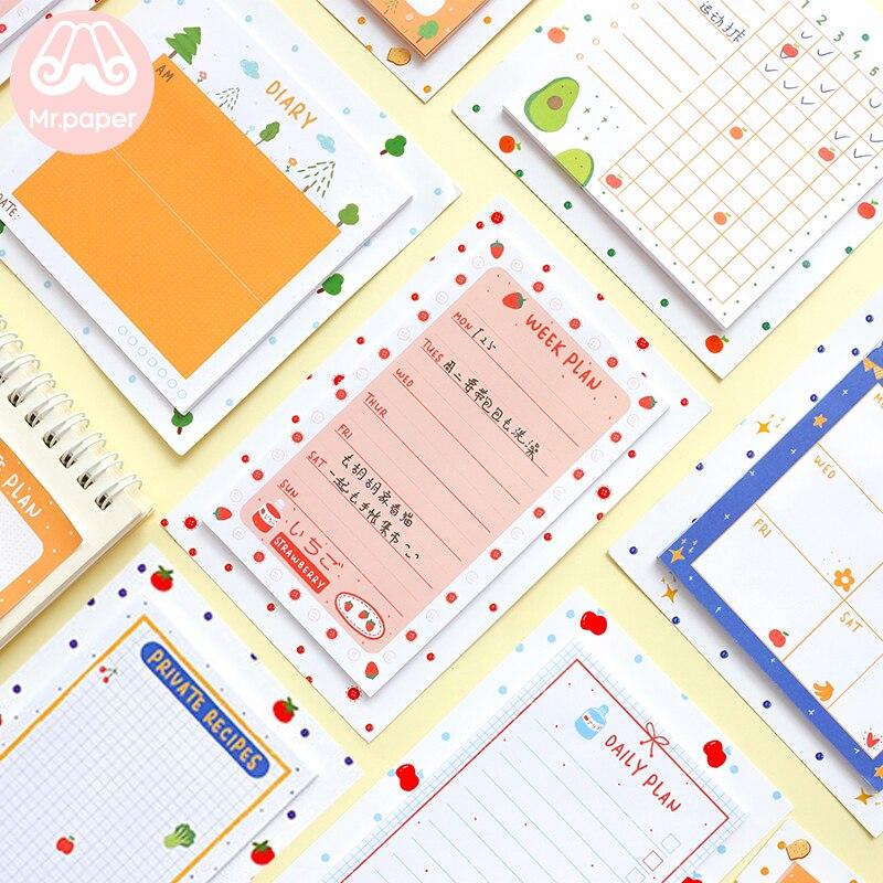Mr paper 30 pçs/lote 8 desenhos kawaii frutas frescas geladeira estrela planejador folha solta bloco de notas escrevendo pontos diários para baixo bonito memorando almofadas