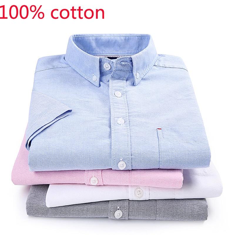 2019 New Arrival Men 100% Pure Cotton Oxford Short Sleeved Shirt Summer Casual Fashion Plus Size S  M L XL 2XL 3XL 4XL