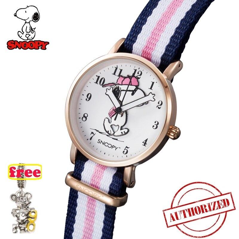 Классические часы SNOOPY, в полоску, с нейлоновым ремешком, для девушек, Топ бренд, для женщин, 2019, повседневные, лаконичные, часы Reloj Mujer, DW, часы SNW814