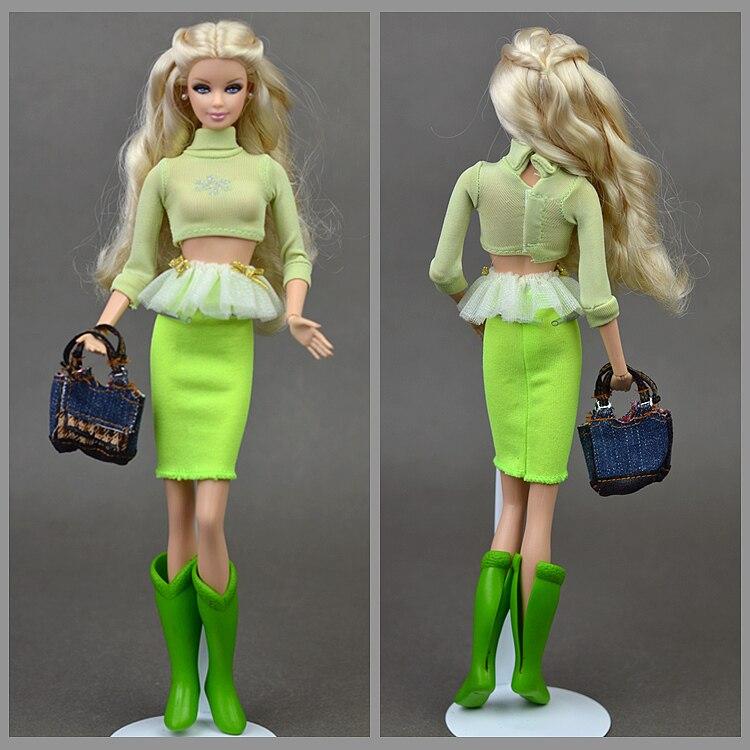 5 unids/set de ropa de verano Original/traje verde falda superior botas bolsa/accesorios de muñeca ropa para muñeca Barbie muñeca Xinyi