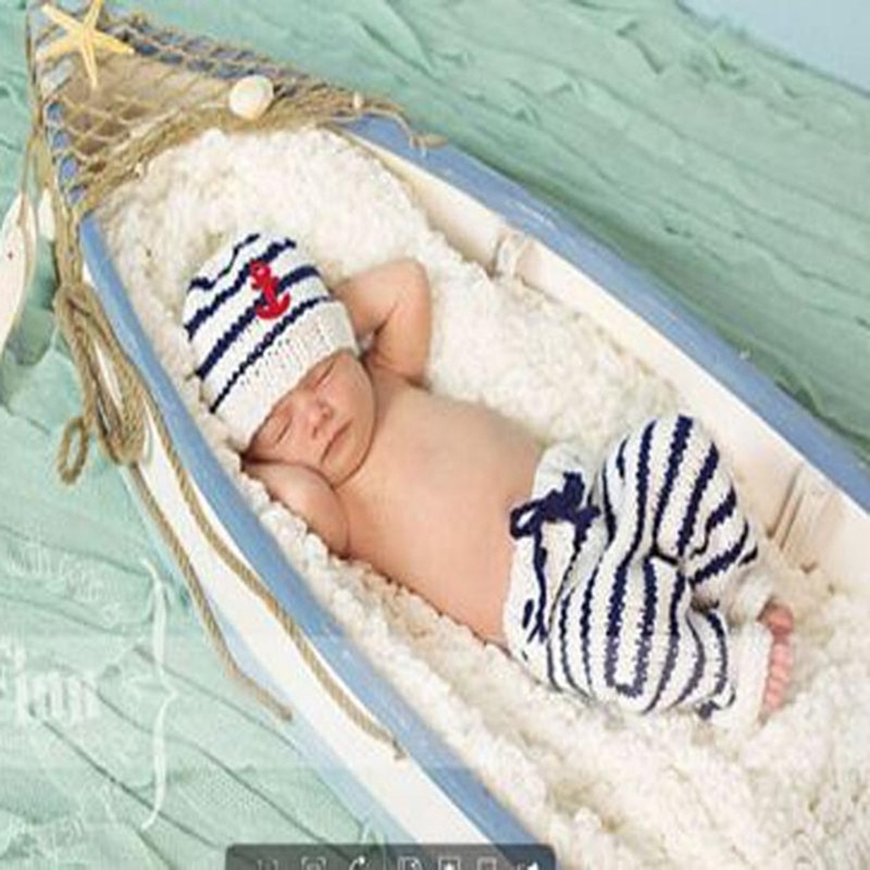 2019 New The Navy Design Baby hat Photography Props Handmade cotton Infant Toddler Costume Outfit 2 colors