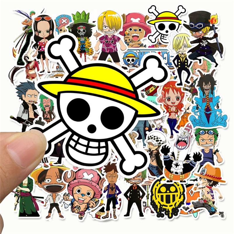 50 unids/lote de pegatinas de Anime 2020 de una pieza Luffy para coche, portátil, mochila de PVC, para el hogar pegatina, almohadilla para bicicleta PS4, pegatina impermeable