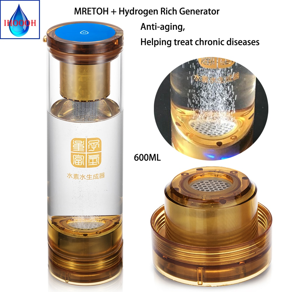 MRETOH 7.8 Hertz Molecular Resonance Hydrogen Generator Ionizer Electrolysis H2 Bottle Help Treat Chronic Diseases Anti-Aging