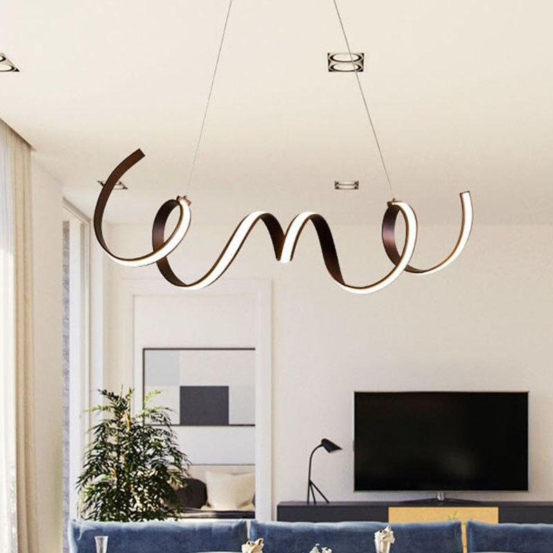 NEO Gleam café acabado moderno led luces colgantes para sala de estar Comedor Cocina habitación aluminio acrílico colgante para el cuerpo lámpara accesorio