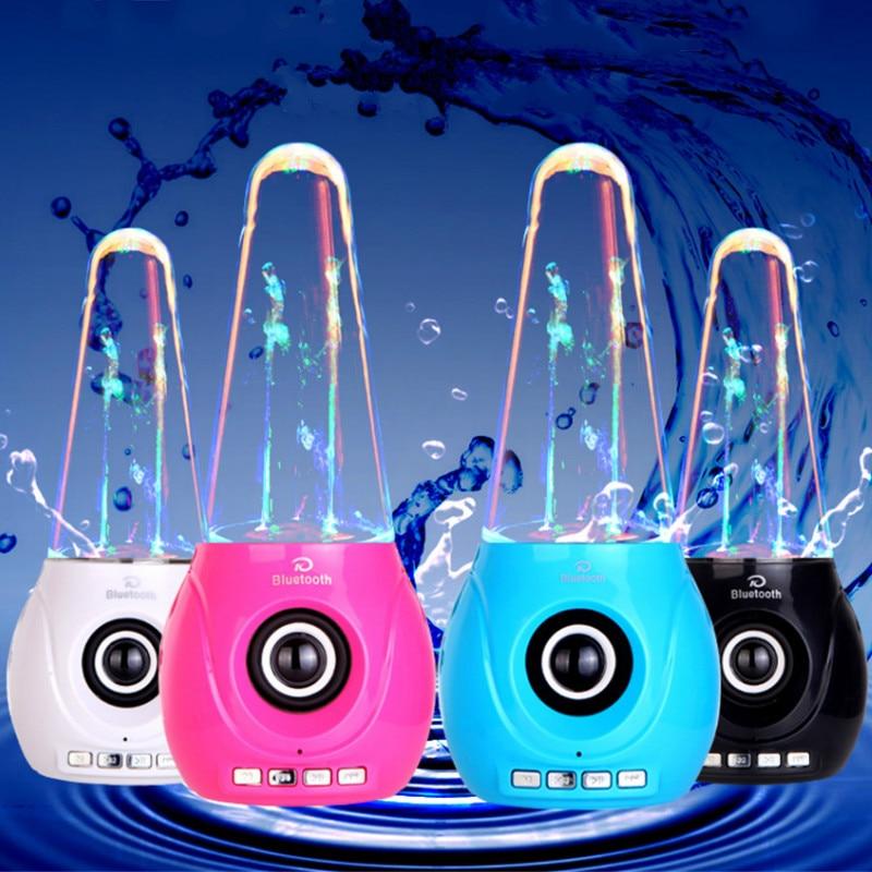 Altavoz de agua Bluetooth con boquilla Aqua compatible con Subwoofer TF / AUX / USB para Iphone Android luz colorida fuente de agua teléfono Audio