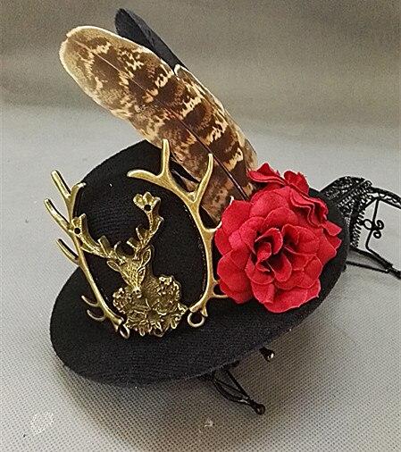 Handmade Victorian Steampunk Mini Top Hat Deer Head Flower Feather Accessory Vintage Hair Accessories