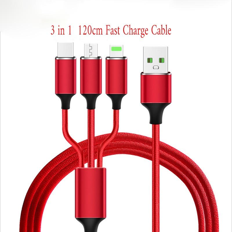 3 в 1 3 в 1 USB кабель 2A Быстрая зарядка Micro USB + кабель типа C 120 см нейлоновый Плетеный многожильный кабель для Samsung Xiaomi HUAWEI ASUS