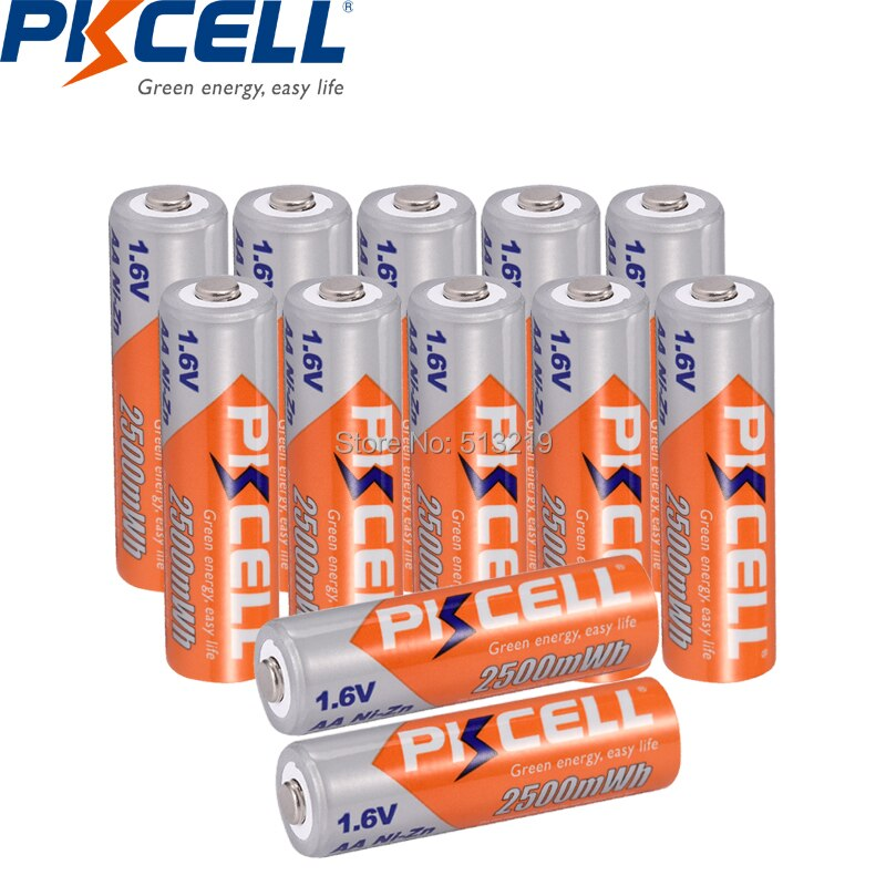 Аккумуляторные батарейки PKCELL AA для фонарика, 12 шт., 1,6 в, МВтч