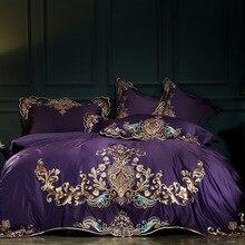 Lila Rot Luxus Oriental Stickerei Ägyptischer Baumwolle Königlichen Bettwäsche Set Königin King size Bett Bettdecke abdeckung bettlaken set kissenbezug