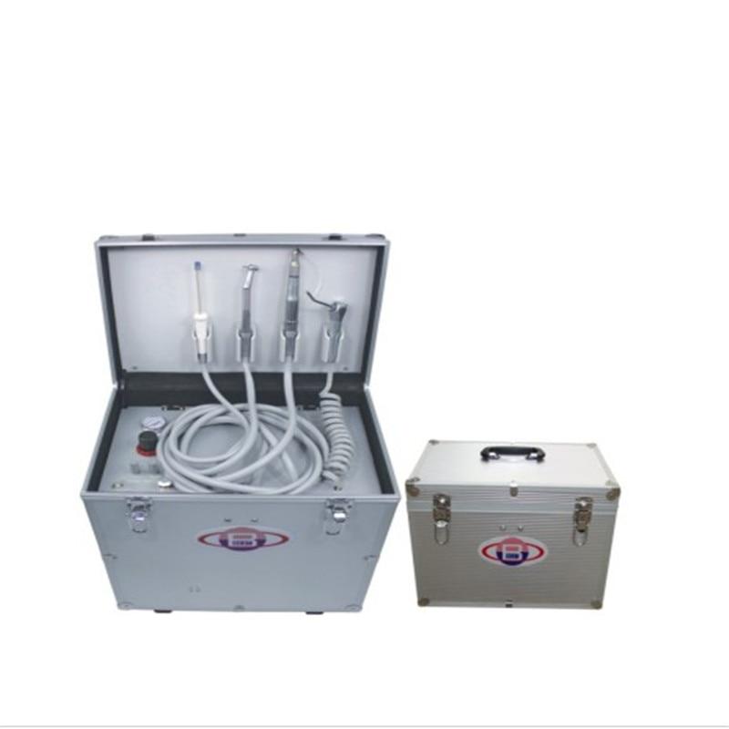 وحدة علاج أسنان محمولة مع مكبس هواء بدون زيت مع ثلاث طرق حقنة مكبس هواء بدون زيت زجاجة ماء شفط