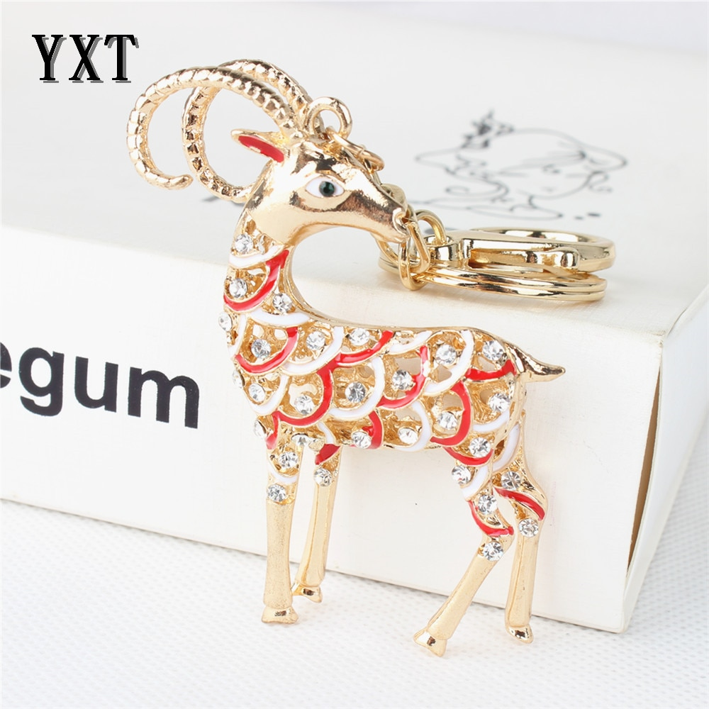 Zodíaco chino raya cabra oveja lindo amuleto de diamantes de cristal colgante para cartera bolso coche llavero cadena creativa boda buen regalo