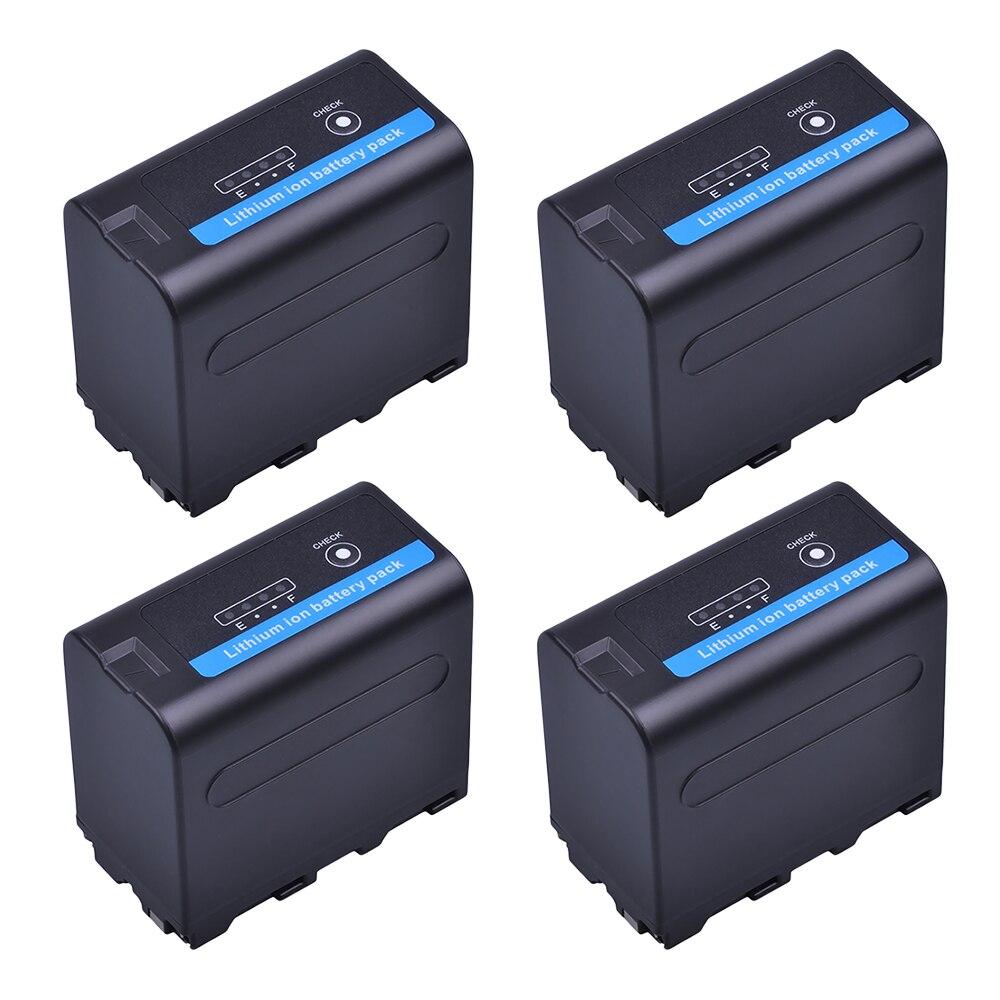 4 шт. 7,2 В 7200 мАч NP F960 F970 камера Литий-ионная батарея со светодиодным индикатором питания для Sony NP-F550 NP-F770 F960 F970 Accu