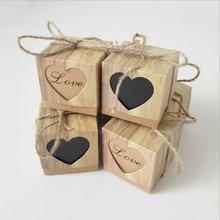 100 ensembles mariage bonbonnière amour coeurs rustique Kraft écorce bonbons boîtes avec toile de jute Chic Vintage ficelle mariage faveur cadeau boîte