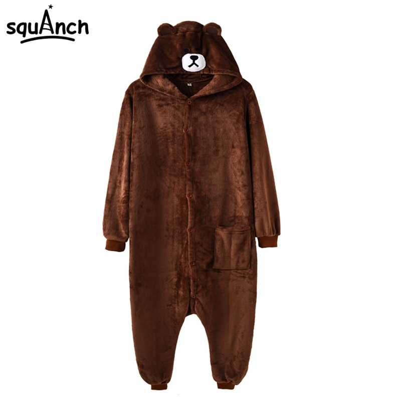 Animal Bear Onesie Kigurumis  Cartoon Costume Adult Women Men Overalls Funny Pajama Carnival Holiday Fancy Suit Flannel Soft