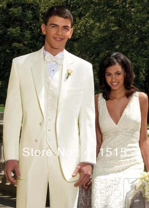 Free shipping!custom made cheap tuxedos/Ivory Notch Lapel Groom wear Tuxedos Wedding Bridegroom men suits/party man dresses