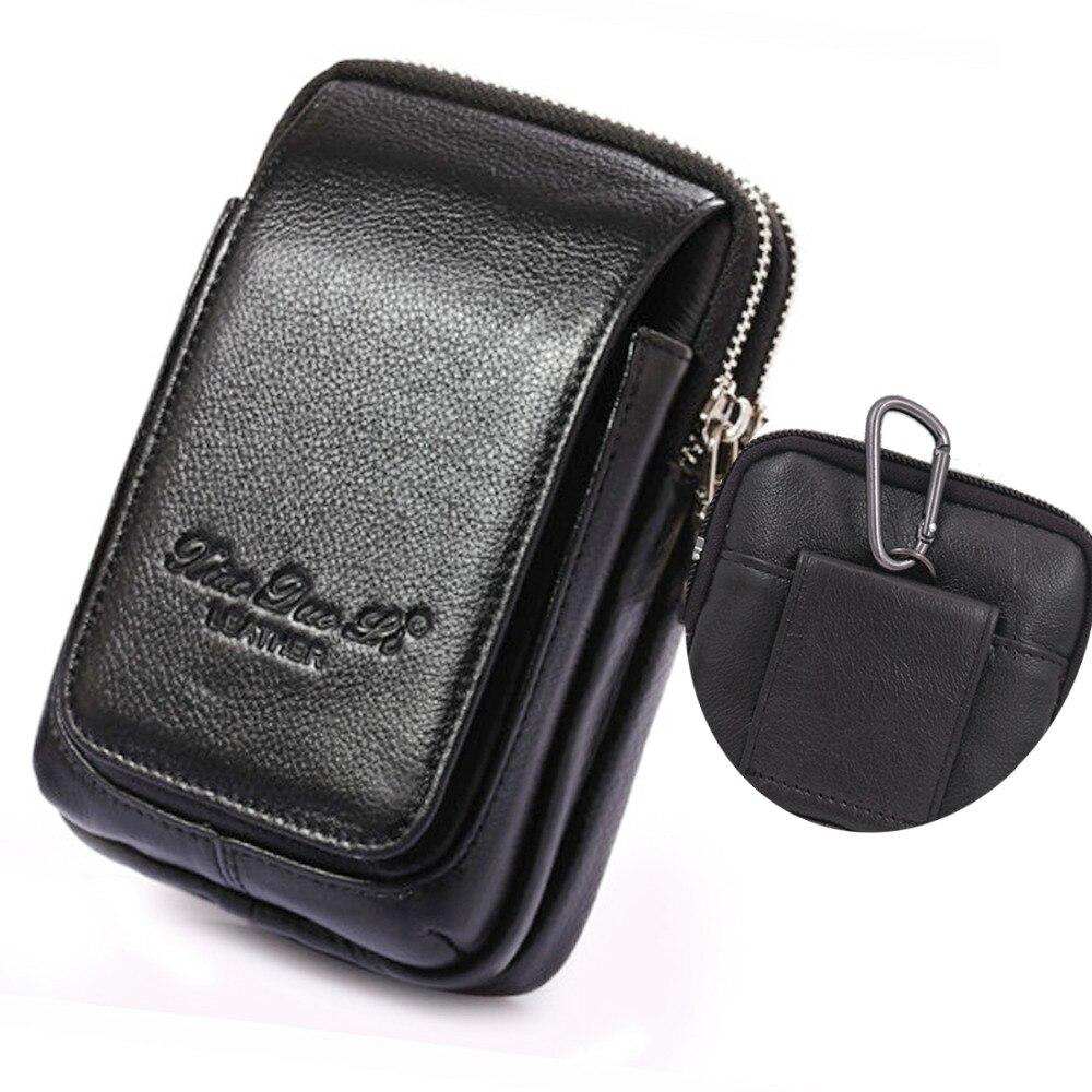 Riñonera de cuero auténtico, riñonera, funda para teléfono móvil, monedero, cinturón para hombres, bolsa con gancho