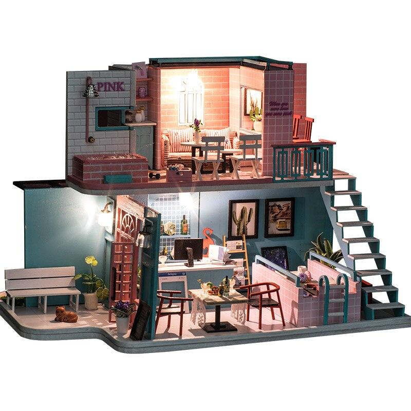DIY Haus mit Möbel Kinder Erwachsene Miniatur Holz Puppe Haus Modell Gebäude Kits Puppenhaus Spielzeug DG