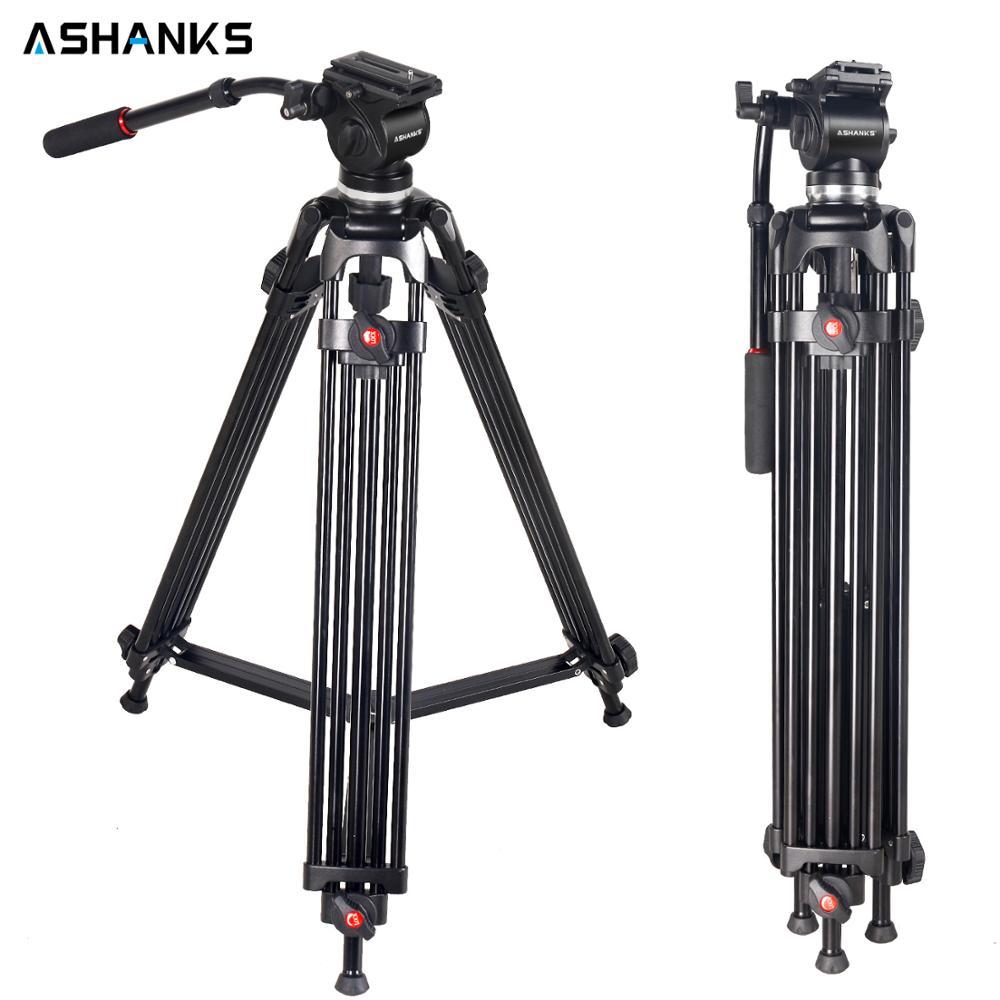 ASHANKS JY0508 cámara de vídeo trípode 160 CM/5FT con DSLR cabeza fluida Placa de liberación rápida para estudio de fotografía profesional