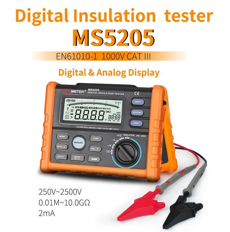 جهاز اختبار مقاومة العزل ، PEAKMETER MS5205 ، مقياس الجهد التناظري والرقمي 2500 فولت ، 0.01 ~ 100 جرام أوم مع مقياس متعدد