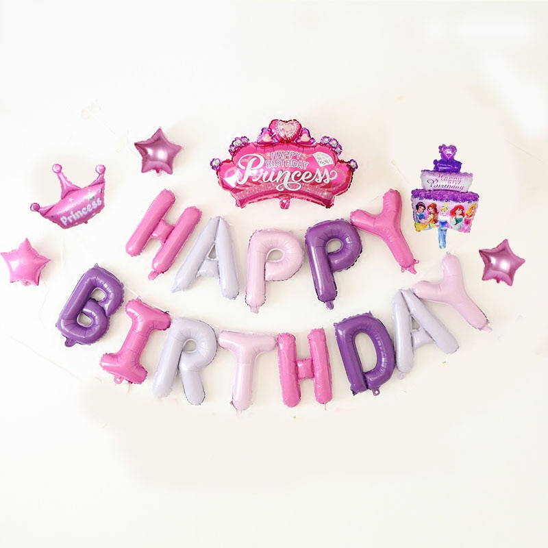 Globos de letras de papel aluminio para fiesta de feliz cumpleaños 19 Uds conjunto de corona de princesa bebé niña globo suministros para fiestas con diseño de princesas