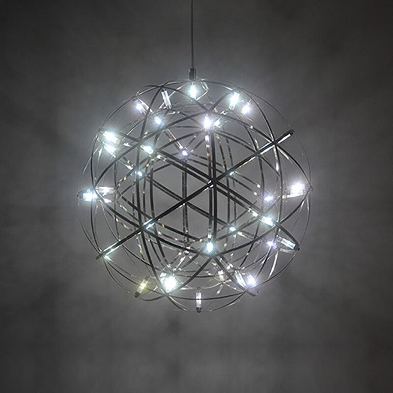 modern pendant lamp stainless steel creative circle hanging light LED firework lamp ball restaurant luminaire suspendu fixtures