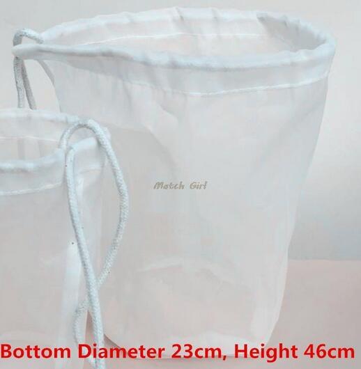 5 unids/lote-23cm de diámetro cilíndrico 150/75/48 micrones bolsa de filtro de grado alimenticio para té leche zumo vino líquido malla filtrante