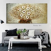 abstract knife 3d flower picture wall art home decor hand painted flower oil painting on canvas handmade white floral paintings