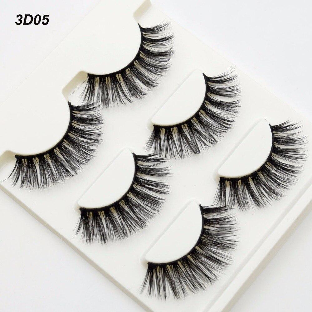 3 par/set 3D pestañas postizas Cruz desordenada espesas pestañas postizas naturales maquillaje profesional Bigeye Pestañas postizas larga 3D05
