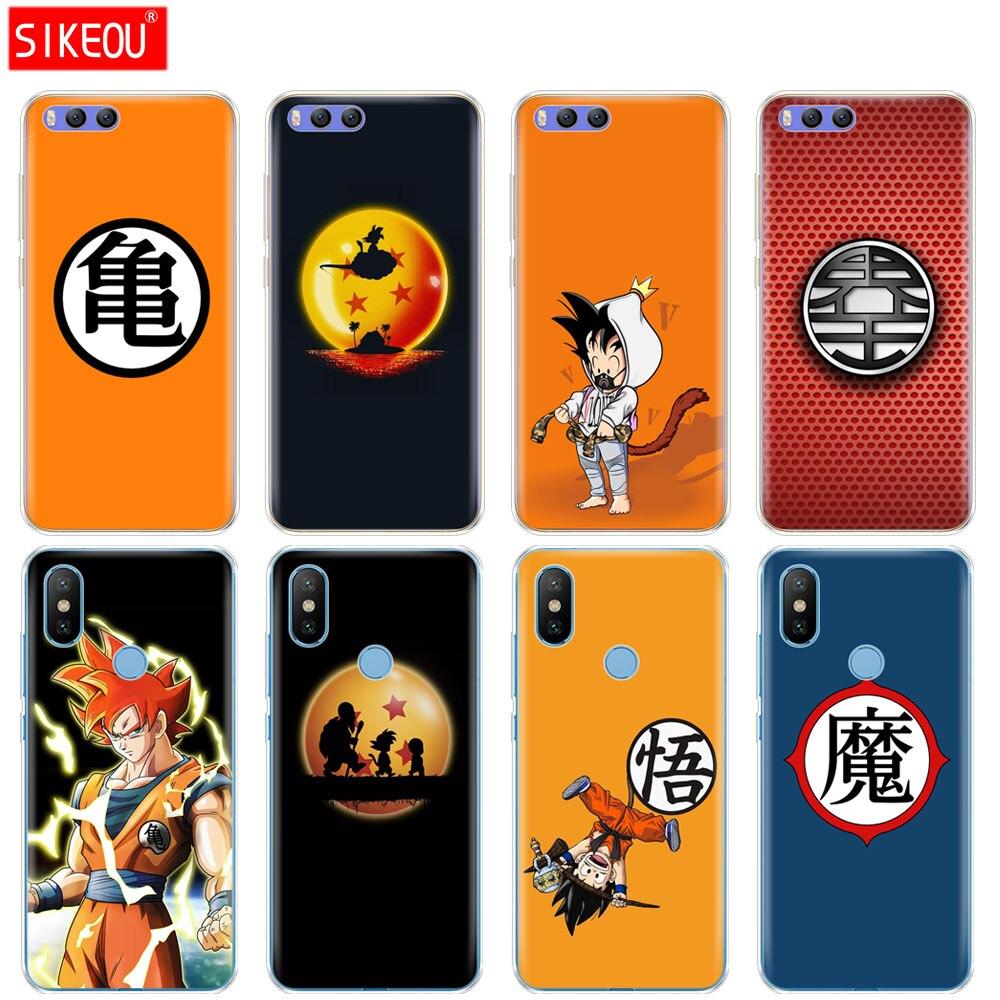 Funda de silicona para Xiaomi mi A1 A2 5 5S 5X 6 mi 5 y mi 6 nota 3 MAX mi x 2 2S Dragon Ball Saiyan Goku logotipo