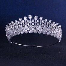 Jankelly qualité Lux mariage mariée demoiselle dhonneur feuille cubique zircone filles blanc plaqué zircon grand diadème couronne/bandeau pour le bal