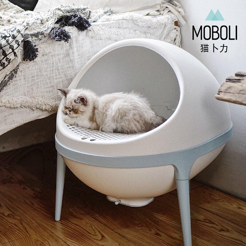 Creative Planet Cat Litter Basin Large Semi Enclosed Litter Box Cat Litter Products  Pet Cat Toilet Clean Basin Toilet Training