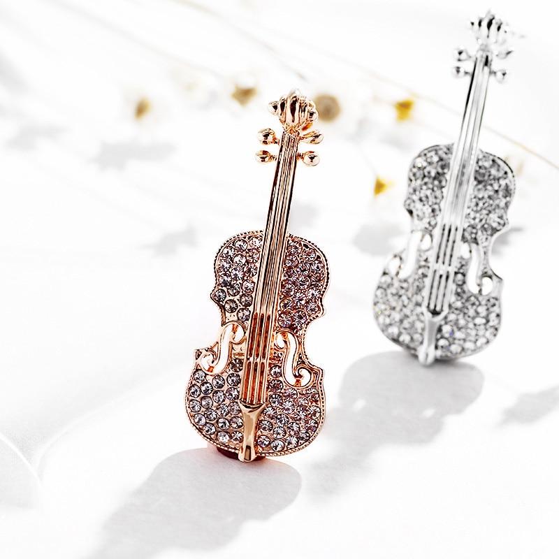 Broche de diamantes de imitación de cristal de Violín de música romántica de alta calidad Pin para broches de hombre joyería de moda para mujer