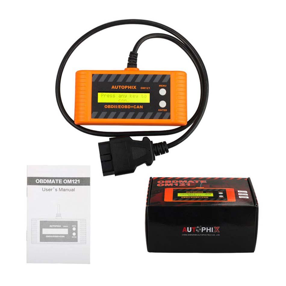 Araba OBD2 otomatik tarayıcı Autophix OM121 EOBD obd 2 obd2 CAN tarama aracı kod motoru okuyucu ile LCD P2P arayüz teşhis aracı