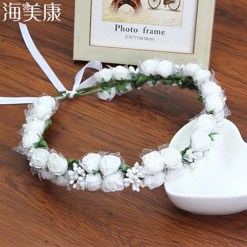 aliexpress.com - HaimeikangWomen Flower Crown Headband Floral Hairband Festival Wedding Accessories Headdress