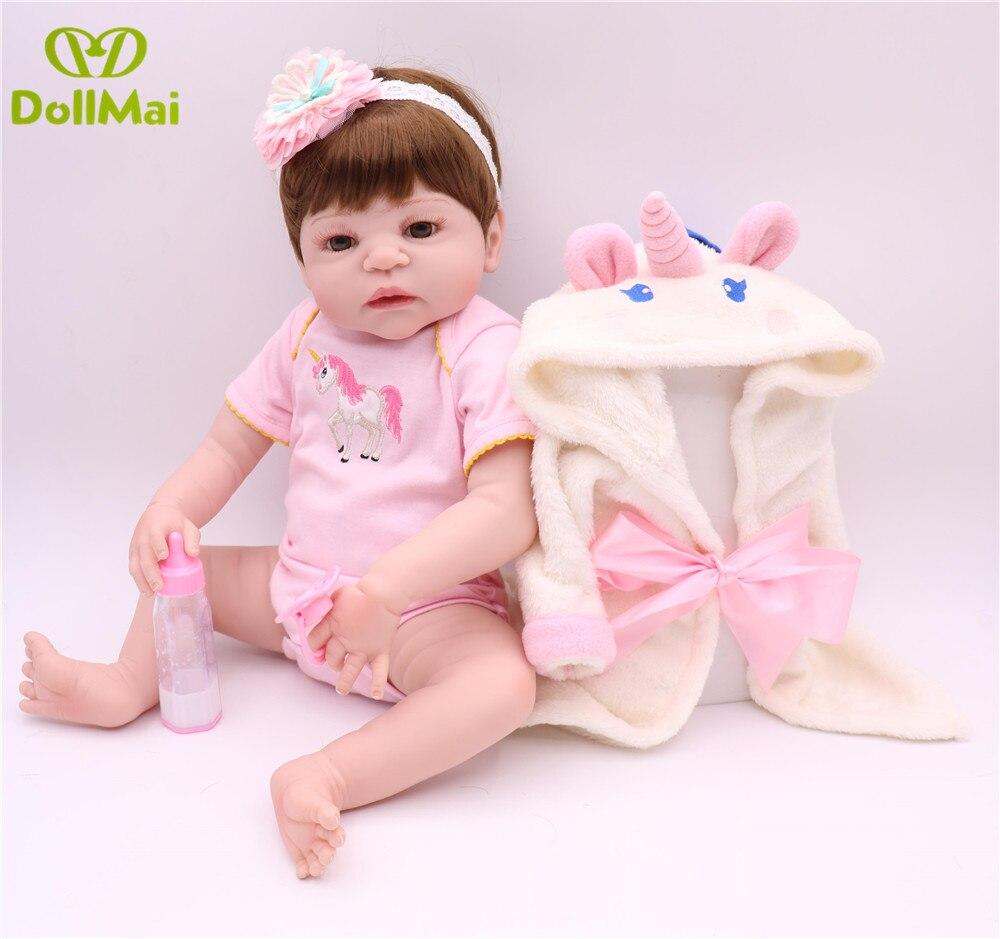 "Menina Bebe reborn 22 ""57 cm completa silicone renascer renascer baby dolls com rosa babydoll Roupão real pode entrar água boneca reborn"