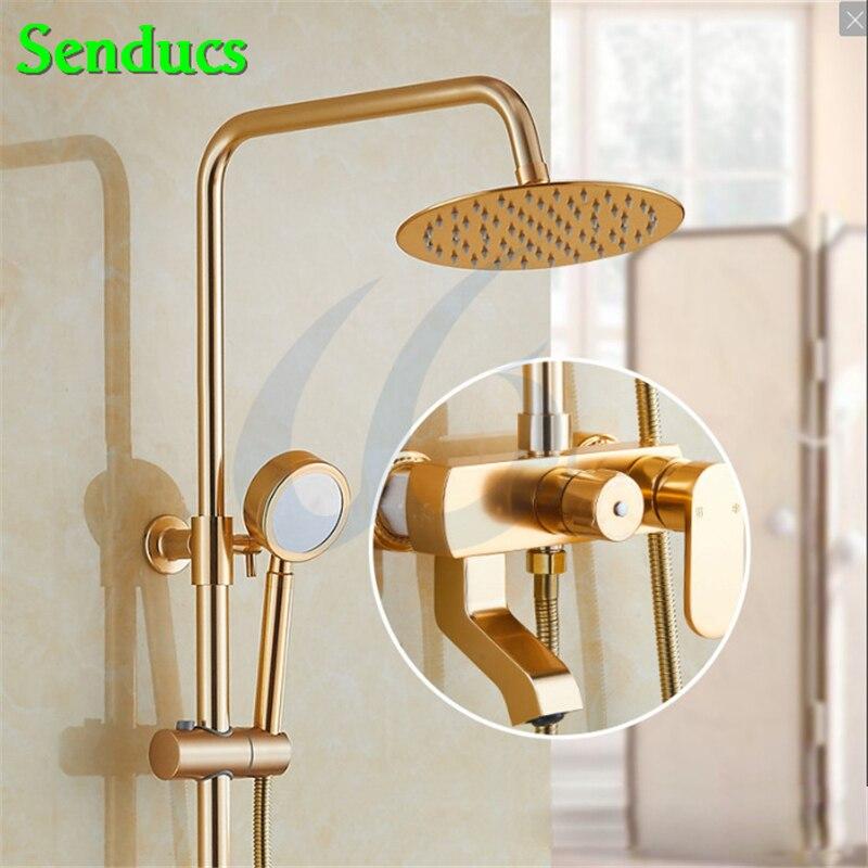 Senducs-مجموعة دش ألومنيوم ، نظام حمام نحاسي ذهبي عالي الجودة ، صنبور دائري علوي