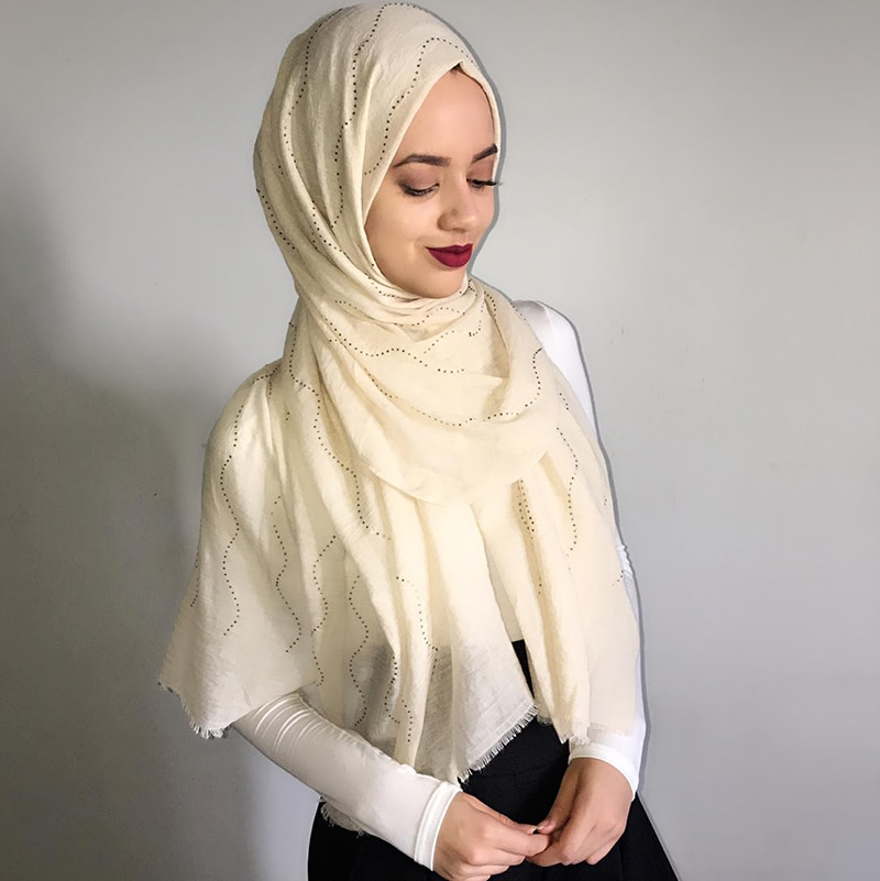 Chales de algodón de alta calidad con brillantina y diamantes para mujer,...