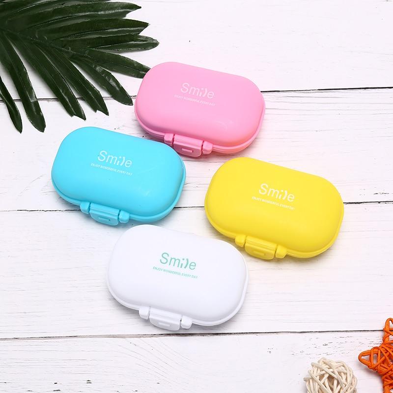 1pc 4 Slots Pill Box Plastic Medical Pill Cases Portable Mini Pills Storage 9.5*6.5*3.5cm Medical Kit