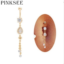 Nouveau pendentif couleur or Long gland goutte cristal nombril nombril anneaux femmes Sexy danse du ventre Piercing bijoux de corps