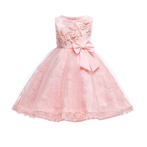 Flower Girls Dress Kids 3D Flower Bodice Tulle Party Wedding Dress with Bow Formal Girls Clothes