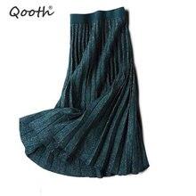 Qooth 2020 printemps été paillettes élégant femme jupes plissées taille élastique fil dor tricoté femmes Midi jupes QH1787