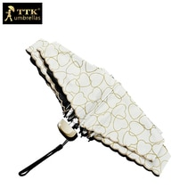 Paraguas de encaje femenino 5 paraguas plegables super mini negro uv TTK Bolsillo pequeño niños parasol para chica sombrilla de sol lluvia mujeres