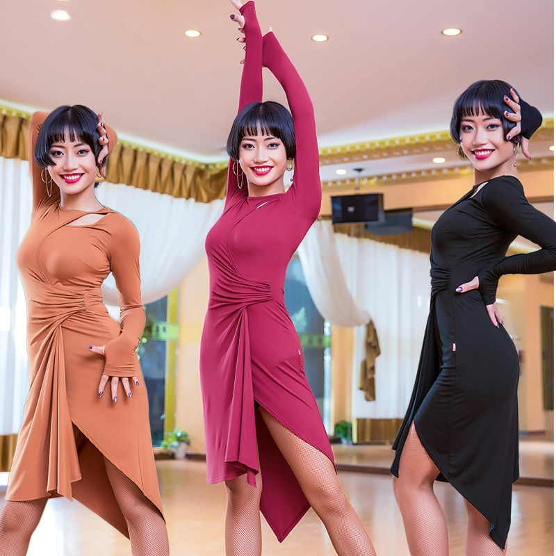 Платье для латинских танцев с длинным рукавом, асимметричная юбка, женские бальные платья Танго, одежда для сальсы для женщин, одежда для ла...